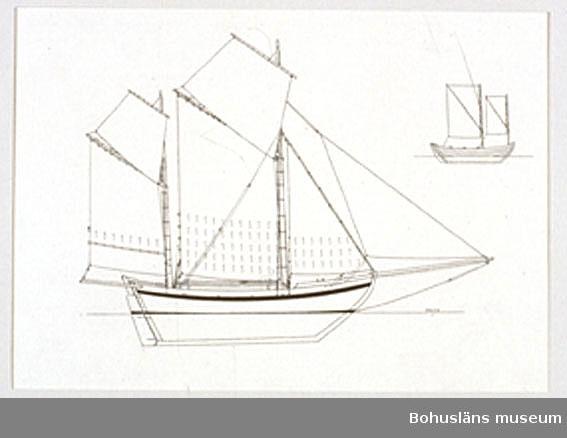 Montering/ram: Passepartout av tunn grå kartong; 55 x 66 cm, Bohuslänsk sjöbåt, Vikingen från Gullholmen. 1880-talet. Övrig historik se UM72.26.001.