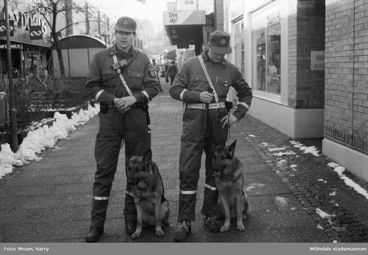 """Poliser med hundar i Mölndals köpcentrum, år 1985. """"Moltas med sin husse Harry Nilsson och Accent med Ingvar Lauri på promenad.""""  För mer information om bilden se under tilläggsinformation."""