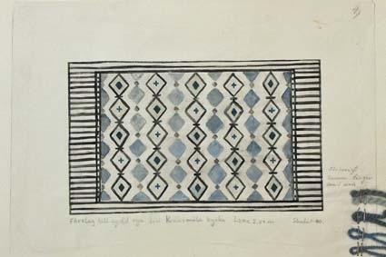 Fyra skisser med förslag till sydd rya till Kråksmåla kyrka. GHKL 4127:1 Förslag till sydd rya till Kråksmåla kyrka 1,20 x 2 m. Skisstorlek ca 12 x 20 cm, skala 1:10. Skissen är märkt med nr 2.GHKL 4127:2Förslag till sydd rya till Kråksmåla kyrka 1,20 x 2 m. Skisstorlek ca 12 x 20 cm, skala 1:10. Skissen är märkt med nr 3.GHKL 4127:3Förslag till sydd rya till Kråksmåla kyrka 1,20 x 2 m. Skisstorlek ca 12 x 20 cm, skala 1:10. Skissen är märkt med nr 4.GHKL 4127:4Förslag till sydd rya till Kråksmåla kyrka 1,20 x 2 m. Skisstorlek ca 12 x 20 cm, skala 1:10. BAKGRUNDHemslöjden i Kronobergs län är en ideell förening bildad 1990. Den ideella föreningen ersatte Kronobergs läns hemslöjdsförening bildad 1915.Kronobergs läns hemslöjdsförening hade butiksverksamhet och en vävateljé med anställda väverskor och formgivare där man vävde på beställning till offentliga miljöer, privatpersoner och till olika utställningar.Hemslöjden i Kronobergs län har idag ett arkiv med drygt 3000 föremål, mönster och skisser från verksamheten och från länet. 1950-talet var de stora beställningarnas tid och många skisser och mattor till kyrkorna kom till under detta årtionde.