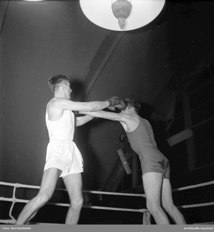 Boxningstävling i tennishallen.