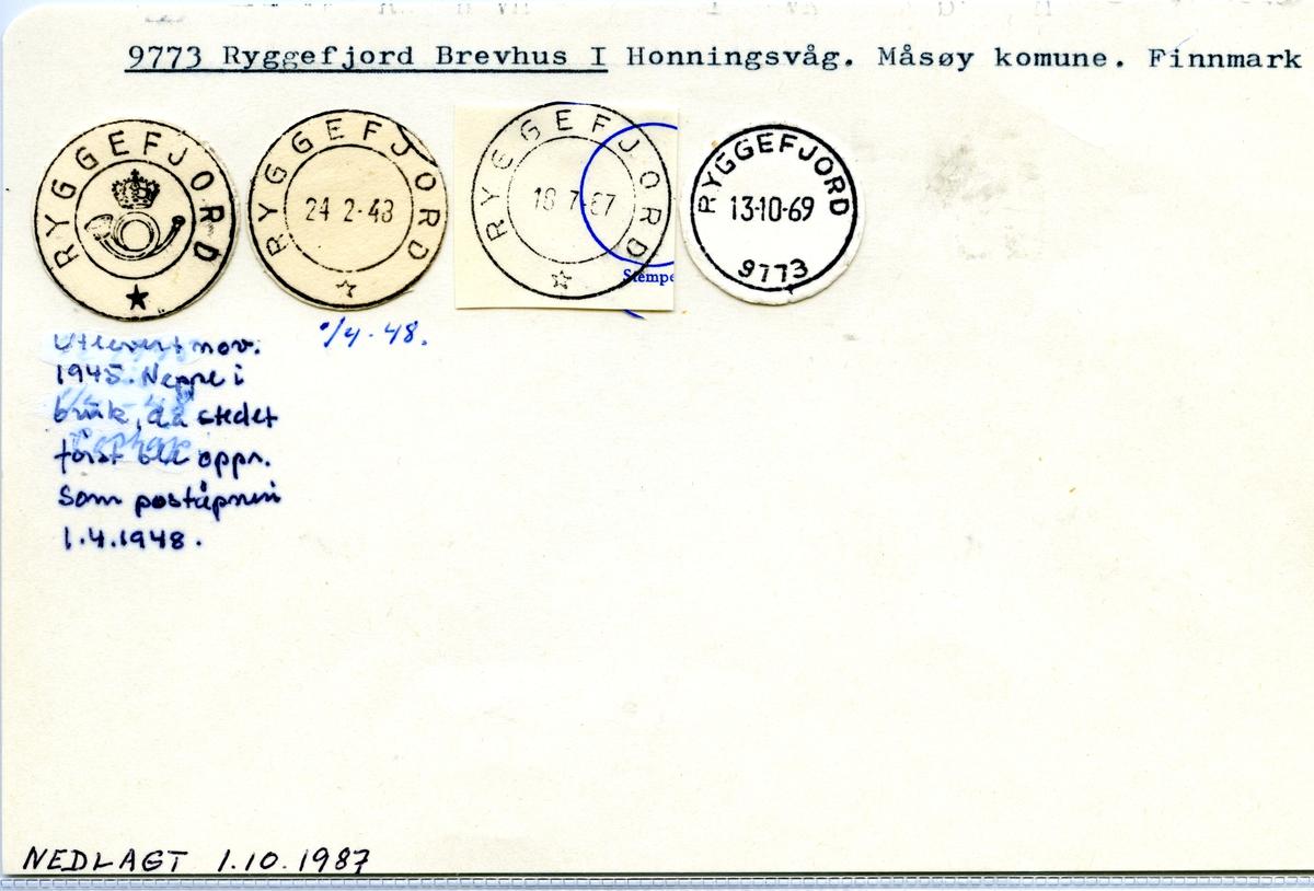 Stempelkatalog 9773 Ryggefjord, Måsøy, Finnmark