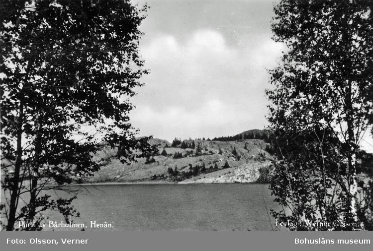 """Text på kortet:"""" Parti av Bårholmen, Henån""""."""
