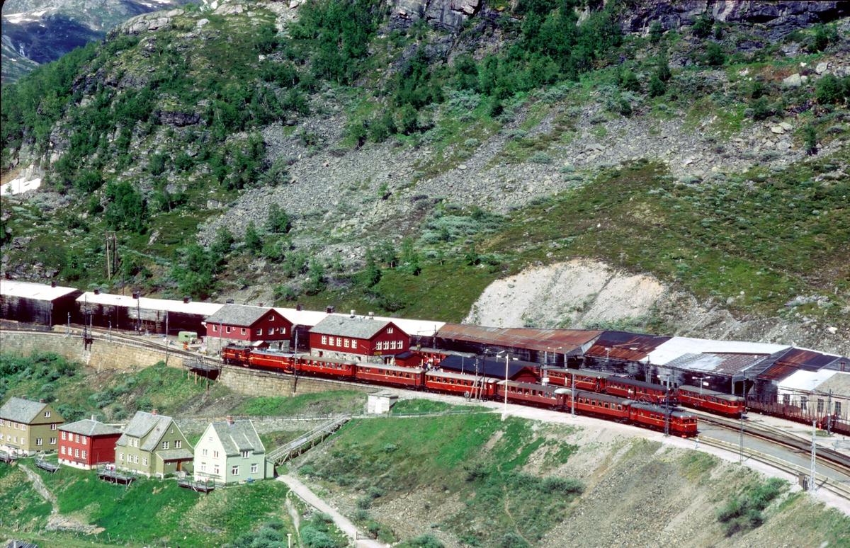 Myrdal stasjon med tog til Flåm og Bergen. Toget til Flåm har El 9 som ekstra forspann- og El 11 som forspannlokomotiv. Bakerst går en motorvogn type BM 64. toget til Bergen kjøres med motorvognsett type 67.