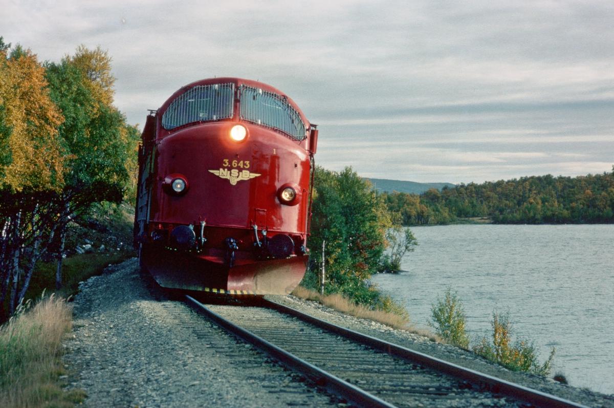 Rørosbanens nordgående dagtog, tog 301, ved Rugelsjøen med NSB dieselelektrisk lokomotiv Di 3b 643.