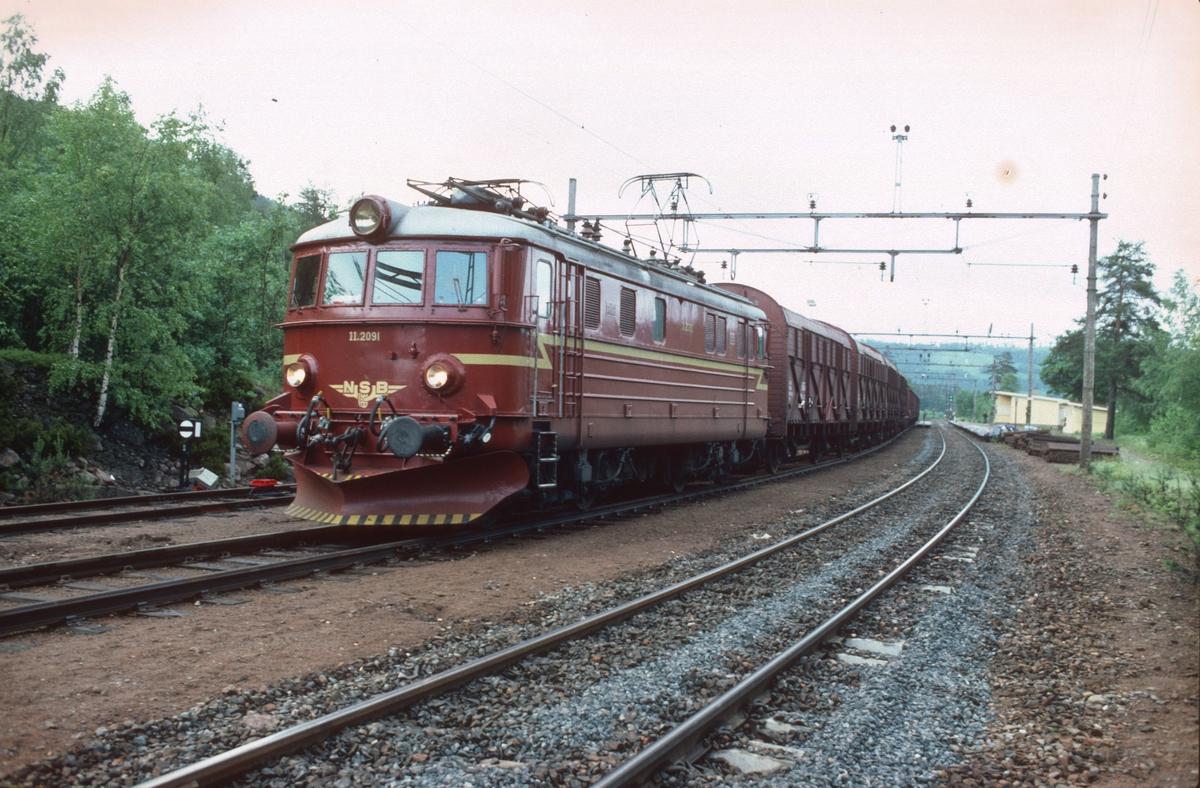 Godstog 5165 (Alnabru - Roa) med elektrisk lokomotiv El 11 2091 i Stryken stasjon.