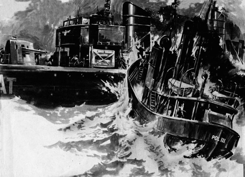 POL III renner inn i skipssiden på den tyske minesveiperen Albatross. Tegning av Andreas Hauge.