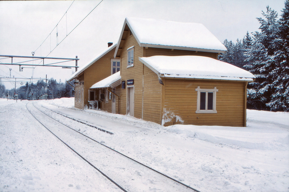 Sandermosen stasjon, stasjonsbygning, en vinterdag.