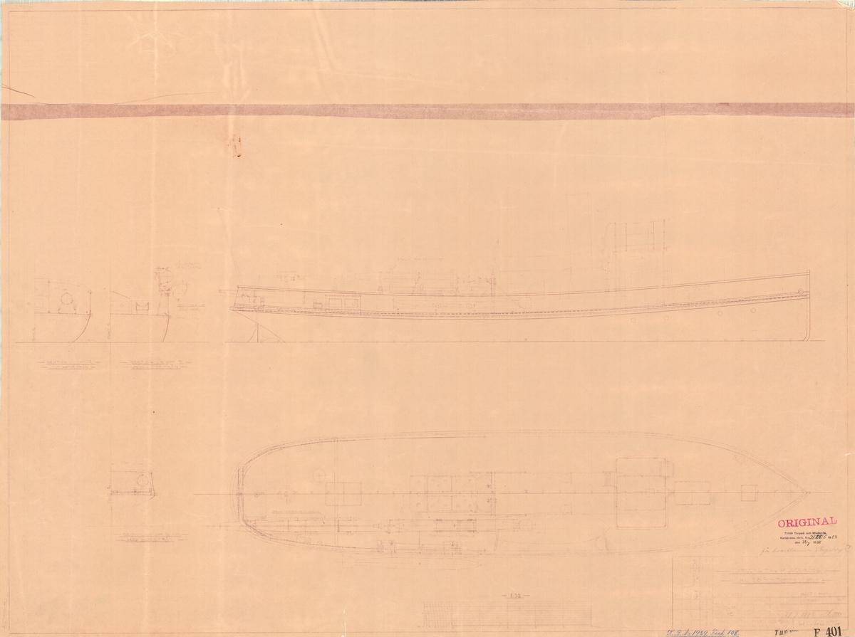 Ritningsförslag till placering av 38 cm torpeder.