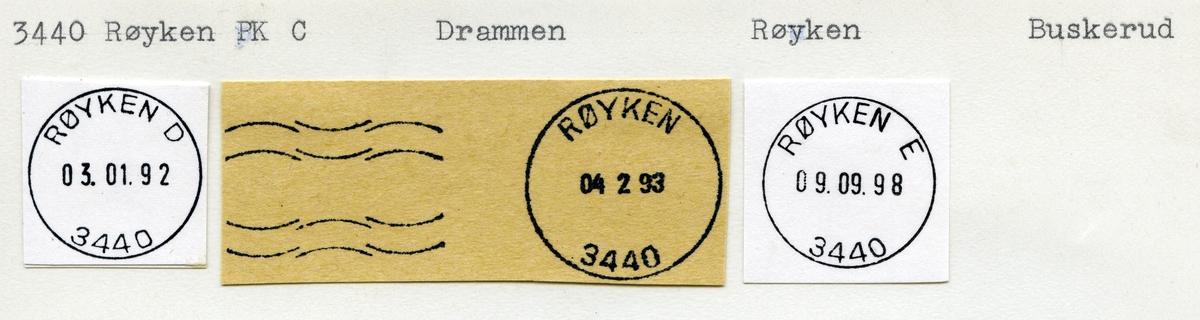 Stempelkatalog 3440 Røyken (Røken), Drammen, Røyken, Buskerud