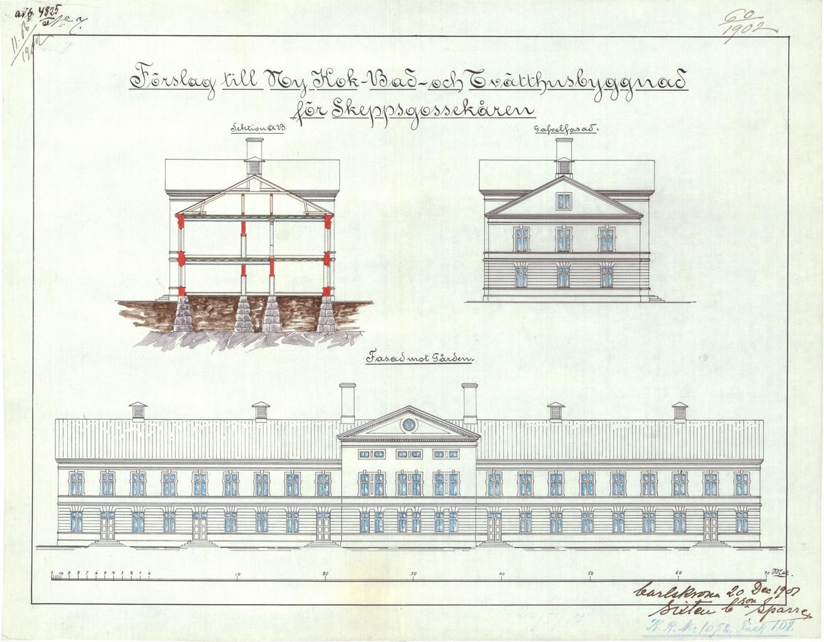 Förslag till nu kok-, bad- och tvätthusbyggnad för Skeppsgossekåren