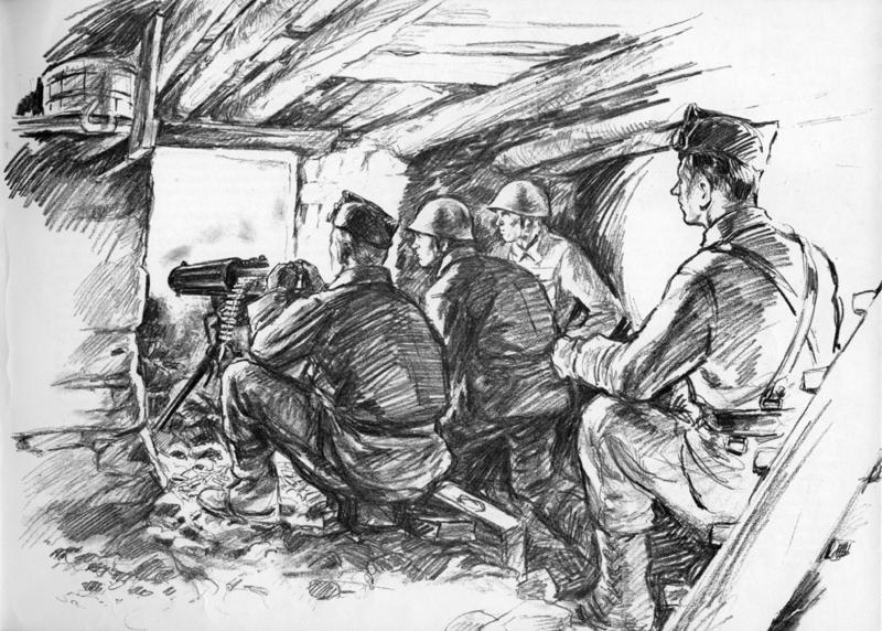 Sersjant Lidvard Kronen med sine karer i stilling på Øvre Kjos. Tegning Andreas Hauge