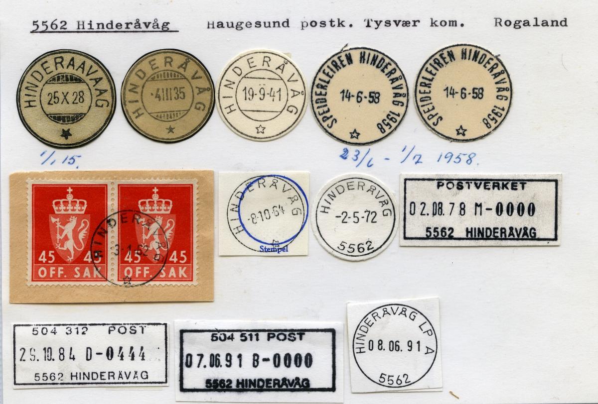 Stempelkatalog 5562 Hinderåvåg (Hinderaavaag), Haugesund, Tysvær, Rogaland