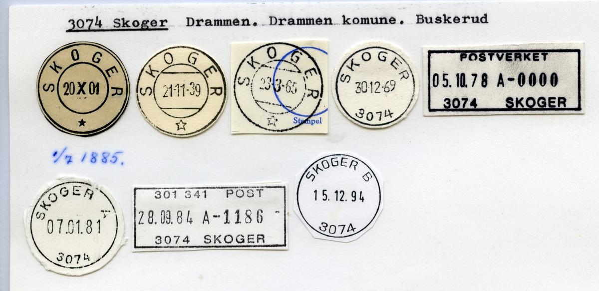 Stempelkatalog  3074 Skoger, Drammen kommune, Buskerud