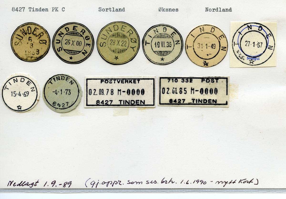 Stempelkatalog 8427 Tinden (Sunderø, Sunderøen, Sunderøy), Øksnes, Nordland