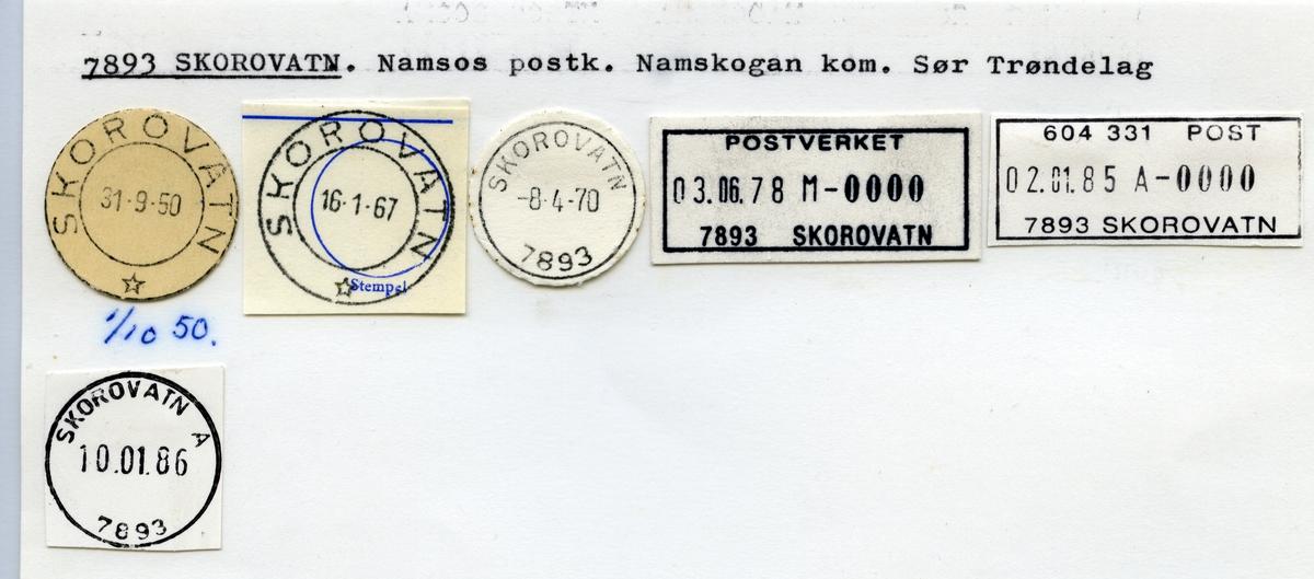 Stempelkatalog  7893 Skorovatn, Namsskogan kommune, Sør-Trøndelag
