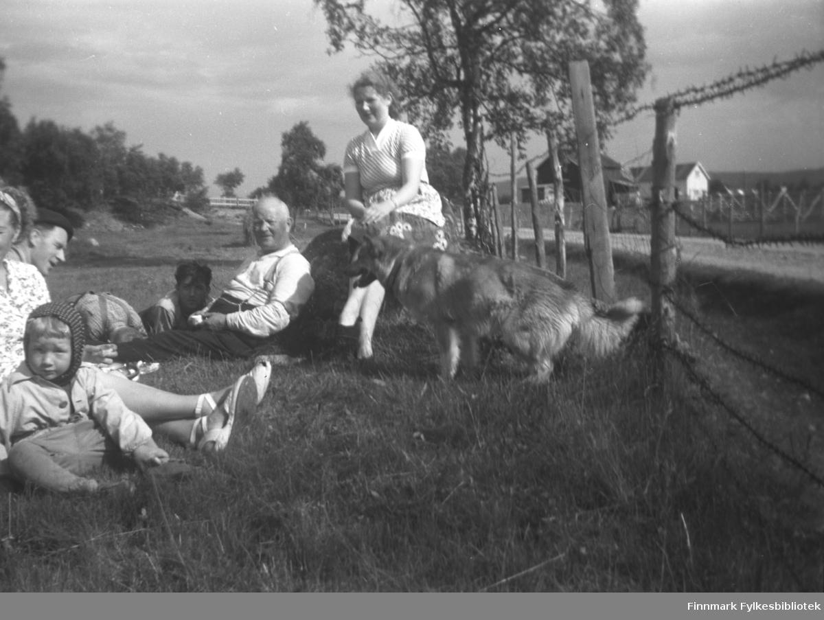 Slåttearbeid på 'badejordet', gården Mikkelsnes i Neiden, ca. 1956-1957. Fra venstre: Liss-Marion Olsen (liten jente), Synnøve Olsen (bare halve ansiktet synlig på bildet), Per Sivle Olsen, ukjent, Trygve Dørmænen, Aksel konrad Mikkola og Kari Mikkola