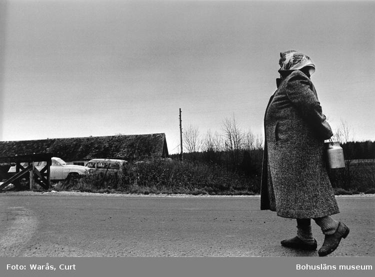 Kvinna på landsbygden hämtar mjölk