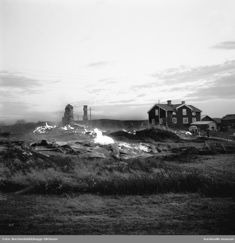 Hela byn brinner! En stor serie bilder från den stora branden i Harvs by, Attmar, en sommardag 1963. En gnista från en förbipasserande traktor antände ett uthus och några timmar senare låg 22 byggnader, varav sex boningshus, i aska. Mirakulöst nog kom varken människor eller djur till skada men värden för runt en halv miljon kronor gick till spillo. Några av byggnaderna i den gamla byn var från 1600- och 1700-talen så det var ovärderliga kulturhistoriska värden som gick upp i rök. Dramatiska bilder från branden och släckningsarbetet där byborna hjälpts åt att rädda så mycket bohag man hann med.