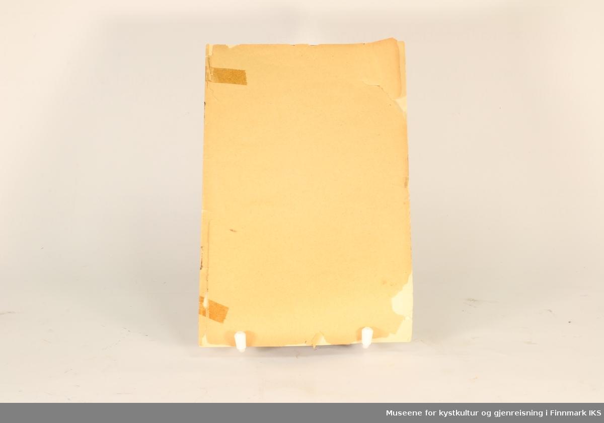 Hefte fra 1895. Brune permer uten tekst, inne hvitt papir med sort tekst. Bakerst er diagram som brettes ut.
