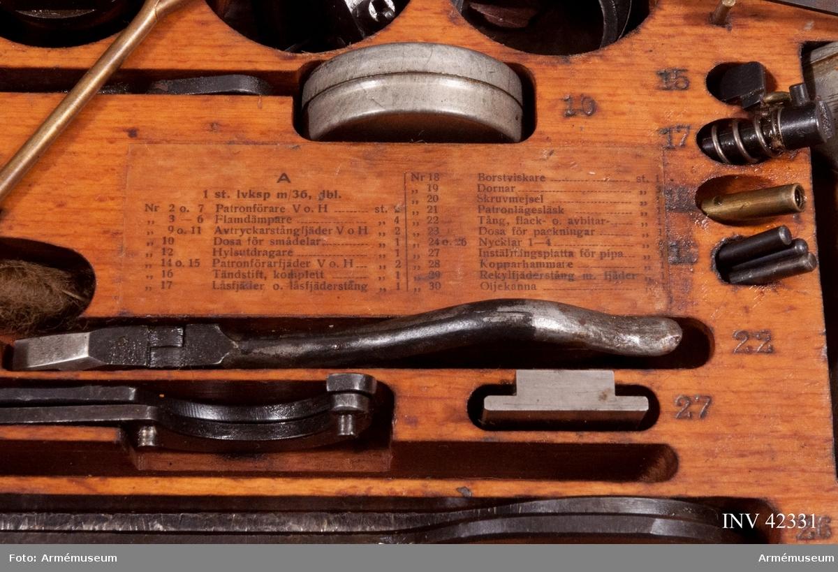 Grupp E IV. Reservlåda till dubbel kulspruta m/1936 för luftvärn. Till kulsprutan finns lavett, två pipor i fodral, vattenlåda, reservdelslåda, riktmedel i låda, två ångslangar, sex bandlådor, två bärband, två stödremmar för bandlåda och kapell.