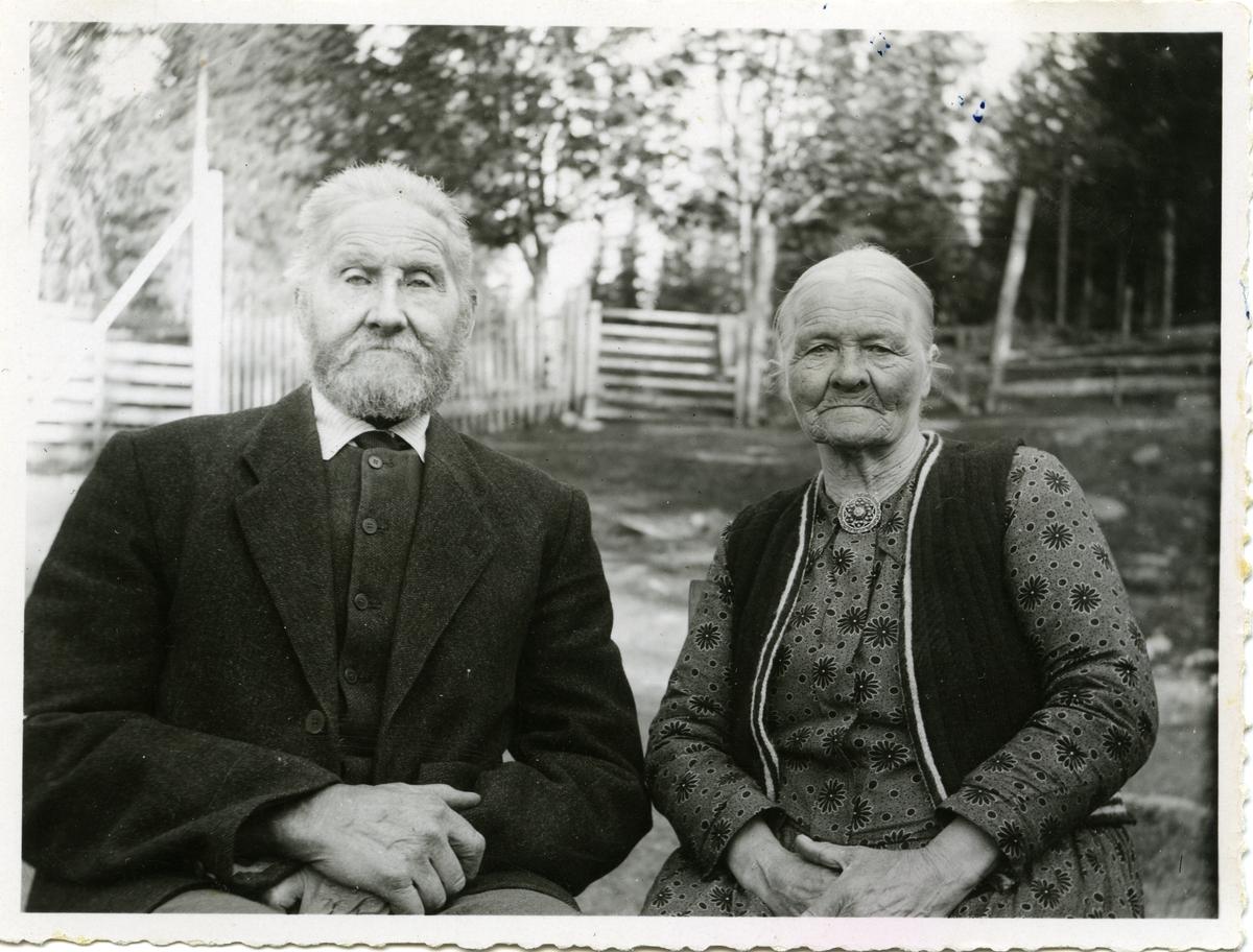 Portrett av et ektepar. Mannen er iført dress og skjorte med slips og kvinnen er iført kjole og vest. Kvinnen har også en brosje i halsen.