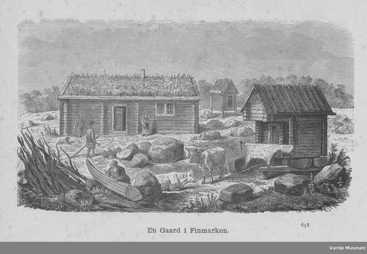 Tresnitt med gårdstun i Finnmark
