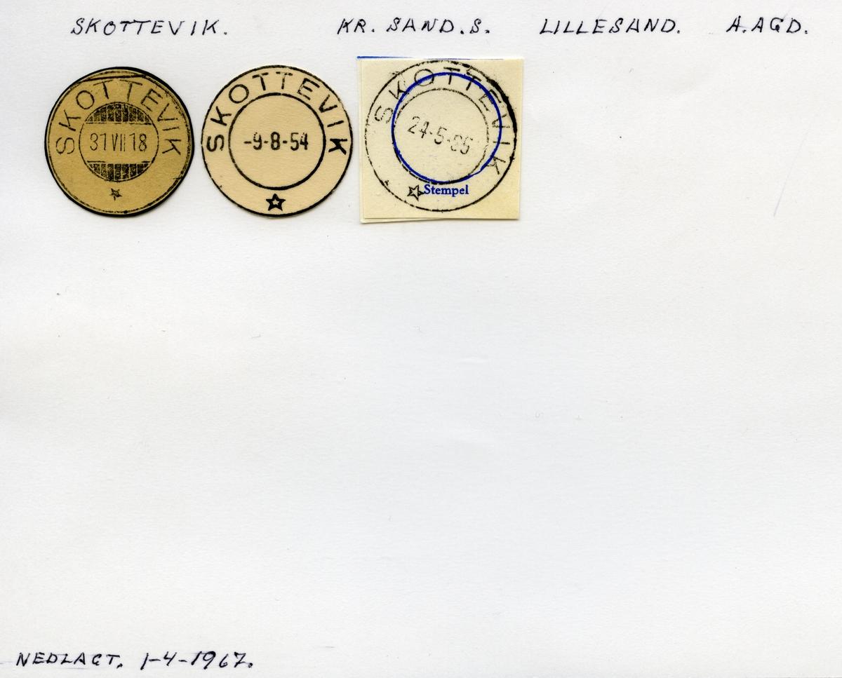 Stempelkatalog Skottevik, Lillesand kommune, Aust Agder