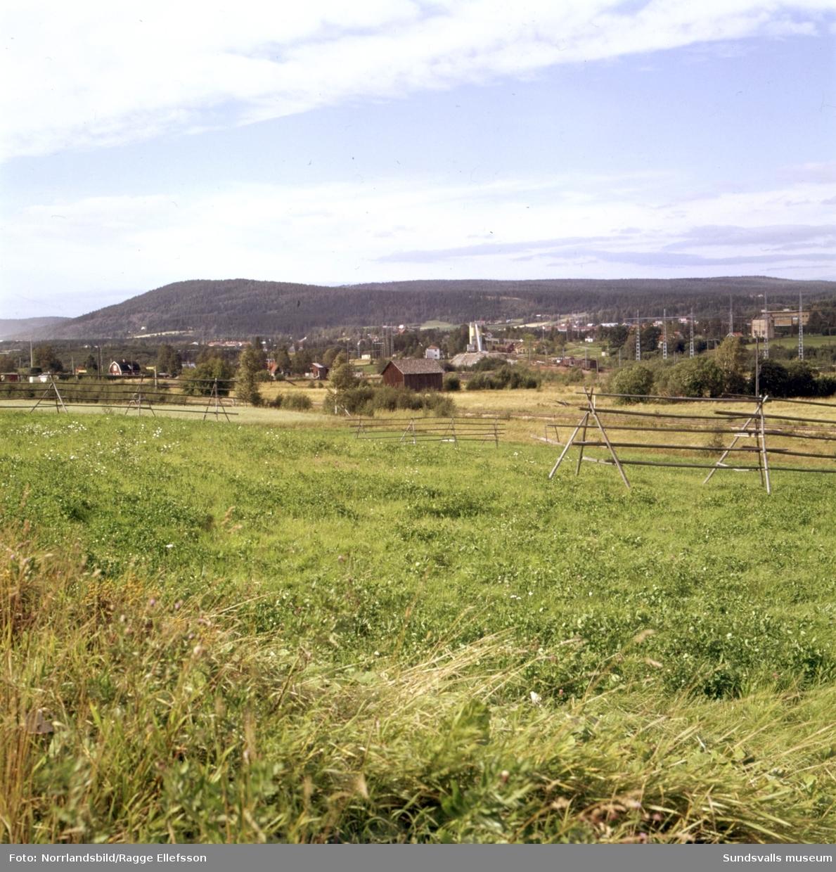 Vyer över landskapet där industriområdet mellan Nacksta och Högom, Granlo växer fram. Ännu är det mest jordbrukslandskap i området. Bilderna tagna från Nackstahållet och norrut.