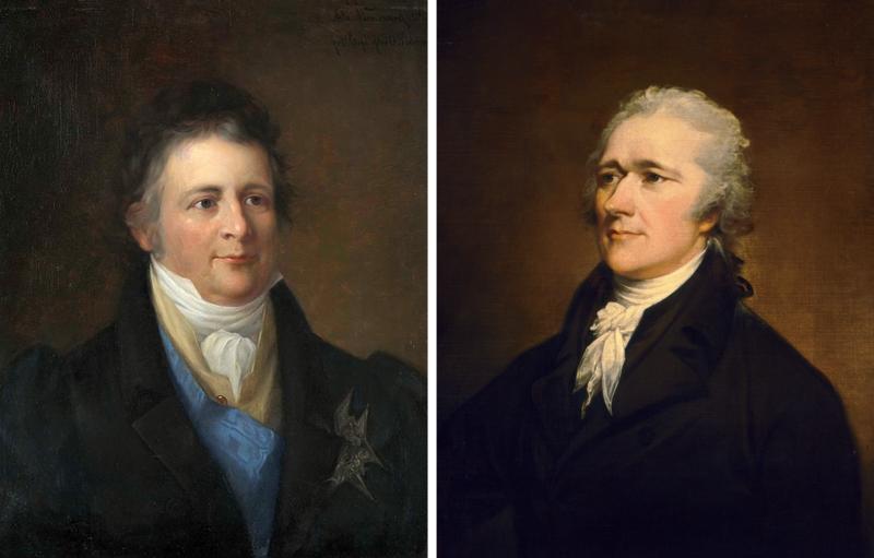 Herman Wedel Jarlsberg (1779–1840) og Alexander Hamilton (1755-1804).  Portretter malt av Knud Bergslien, ca. 1854 (Eidsvoll 1814) og av John Trumbull, 1804 (National Portrait Gallery, Smithso¬nian Institution). (Foto/Photo)