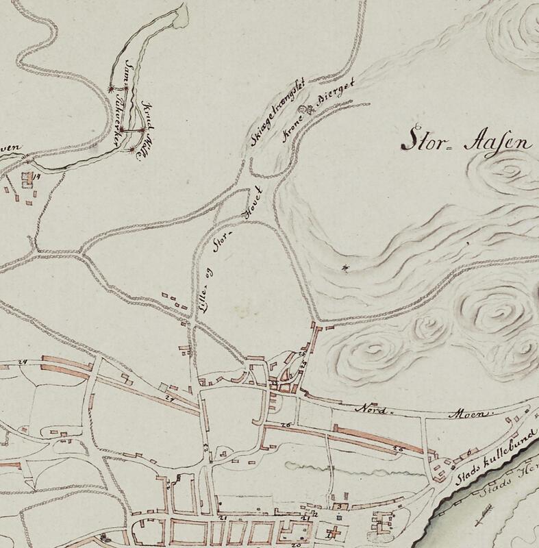 Utsnitt av bykart fra 1797 viser fegater i Håvet – «Lille- og Stor-Hovet» – og kjente steder som «Krone Bierget» og «Skiægetrængslet». Kruttmølla oppe t.v. (Riksarkivet BS I 5) (Foto/Photo)