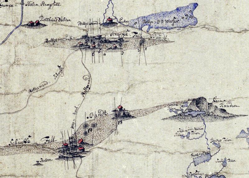 Utsnitt av kart fra 1776 med Jonsknuten t.h., Helgevannet øverst, pukkverket og gruvene der, Jonsknutskjerpene, plassen Kolhusdalen og Gampehølhengslet øverst t.v. Kartet viser nord-sør-strykende fahlbånd og øst-vest-strykende, sølvførende kalkspatårer. En hestegjøpel er inntegnet ved kartnr. 18, Skjerp Nr. 1 og 2. Kartnr. 17 kalles gamle, forlatte skjerp. (Norsk Bergverksmuseum KS II A VIII 49, J.G. Madelung) (Foto/Photo)