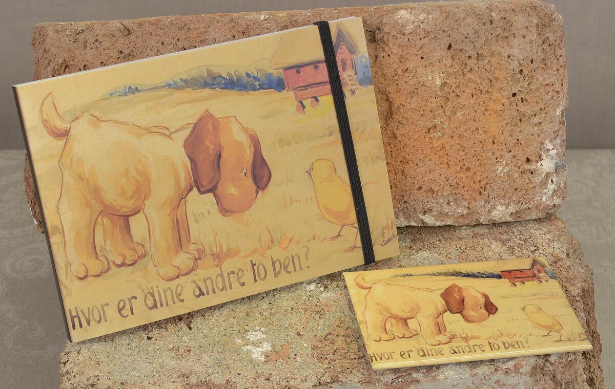 Illustrasjon av den russiske Valery Carrick, gitt Tilla og Otto i gave. Vi fant den frem og laget disse søte produktene. Skrivebok (15x10,5 cm) kr. 95,- og magnet (9x6,5 cm) kr. 75,- pr. stk. (Foto/Photo)