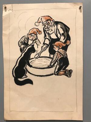 "William Lunden, original tegning til ikonisk ""Nisse med grøt"" julekort fra 1943, 16x23cm, kr 2000 Selges på vegne av familien. (Foto/Photo)"