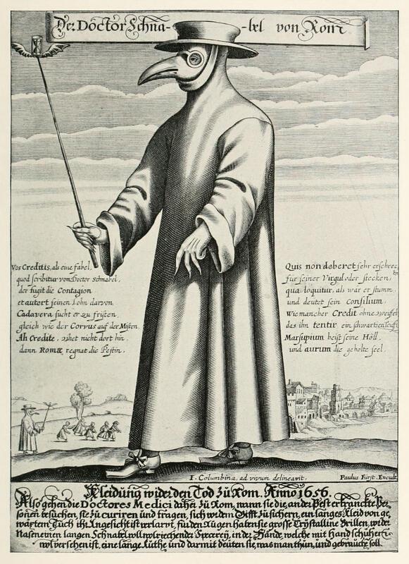 Pestlege i smittevernutstyr, tysk kobberstikk fra 1656. Berghauptmann dr. J.Fr. Nortmann, som var lege, måtte under pesten på Kongsberg i 1630 behandle pasienter med medisiner, med uviss suksess. Sølvkompaniet hadde ansatt en bartskjær, en enkel kirurg, ved navn Phillippus Klöver, men han kunne trolig ikke gjøre stort for å motvirke sykdommen. (Wikipedia) (Foto/Photo)