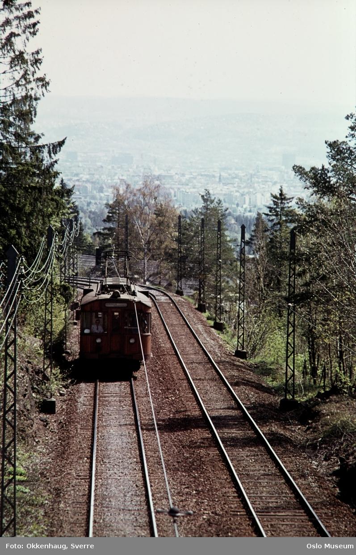 Holmenkollbanen, trikk, skog