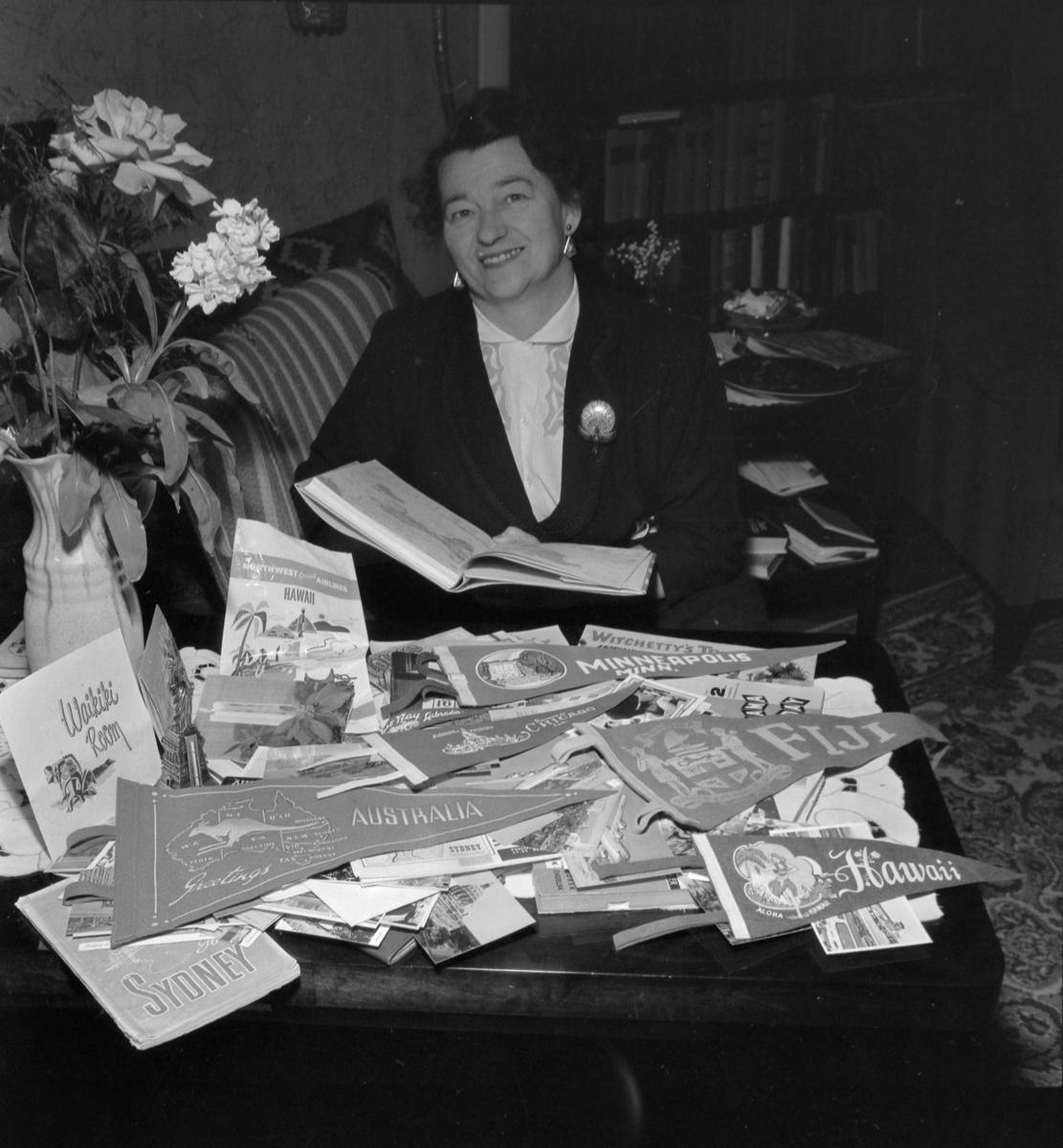 Hjørdis Aune hjemme etter å ha reist verden rundt med fly