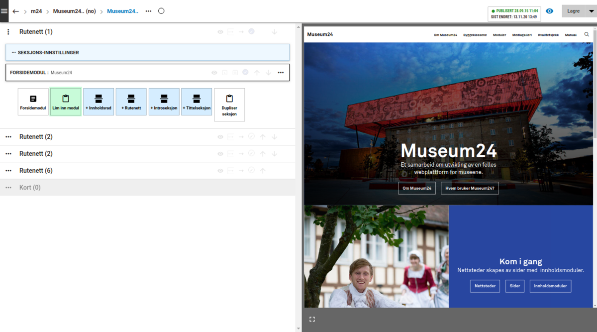 Skjermbildet viser sideeditor/redigering med arbeidsflate til venstre og forhåndsvisning til høyre (Foto/Photo)