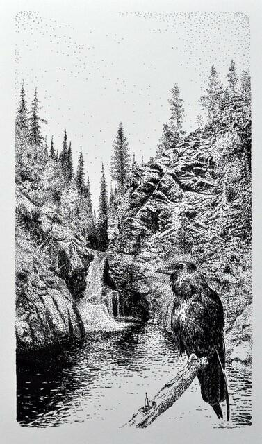 Kunstverk av Sjur Torve som viser en kråke som sitter på en gren foran en foss. (Foto/Photo)