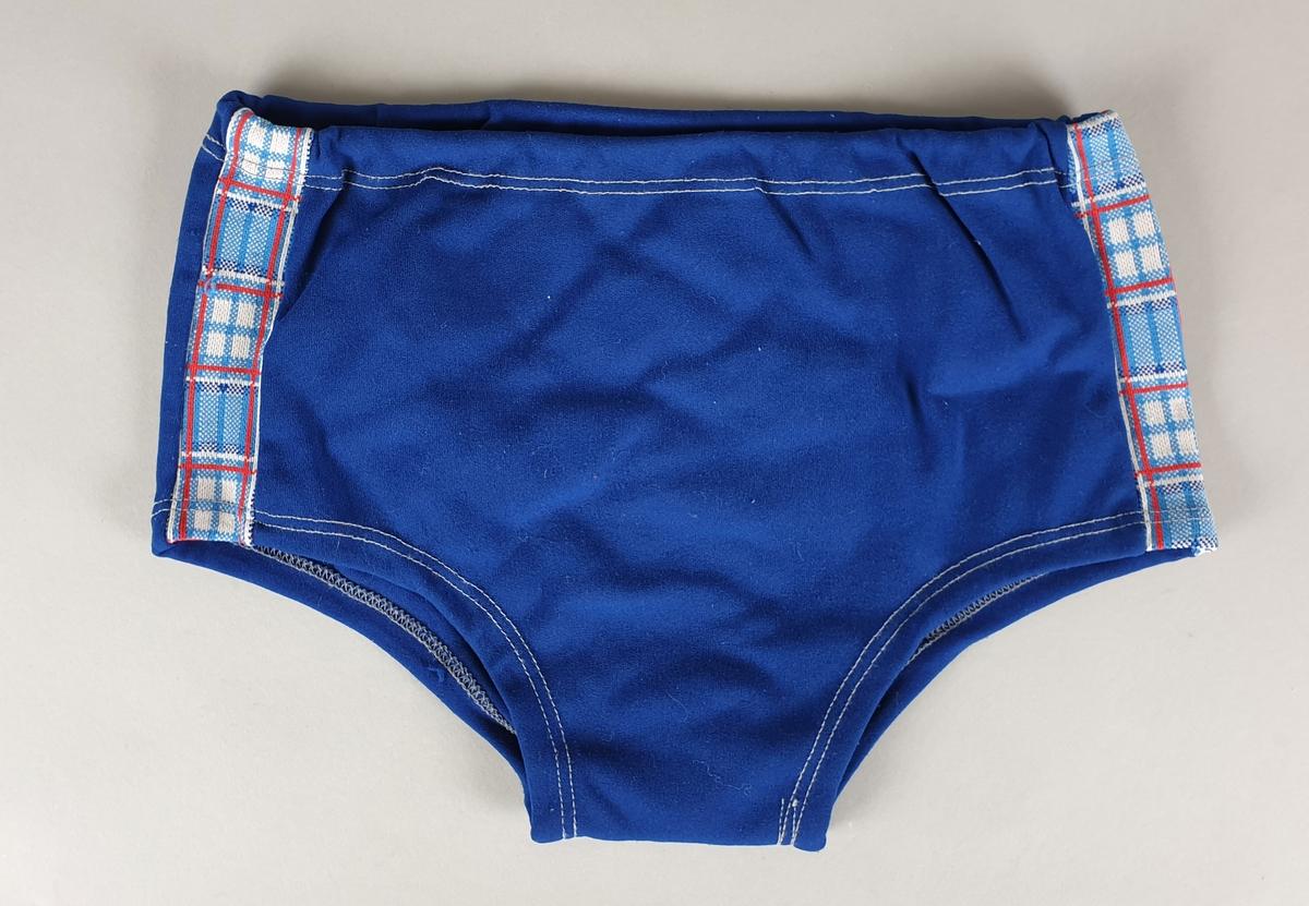 Blå badebukse for gutt, med rutete stripe på hver side.