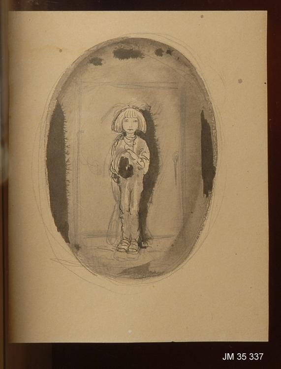I en stående oval ses en pojke stående framför en dörr med ett bylte i famnen. Pojken tittar på betraktaren.