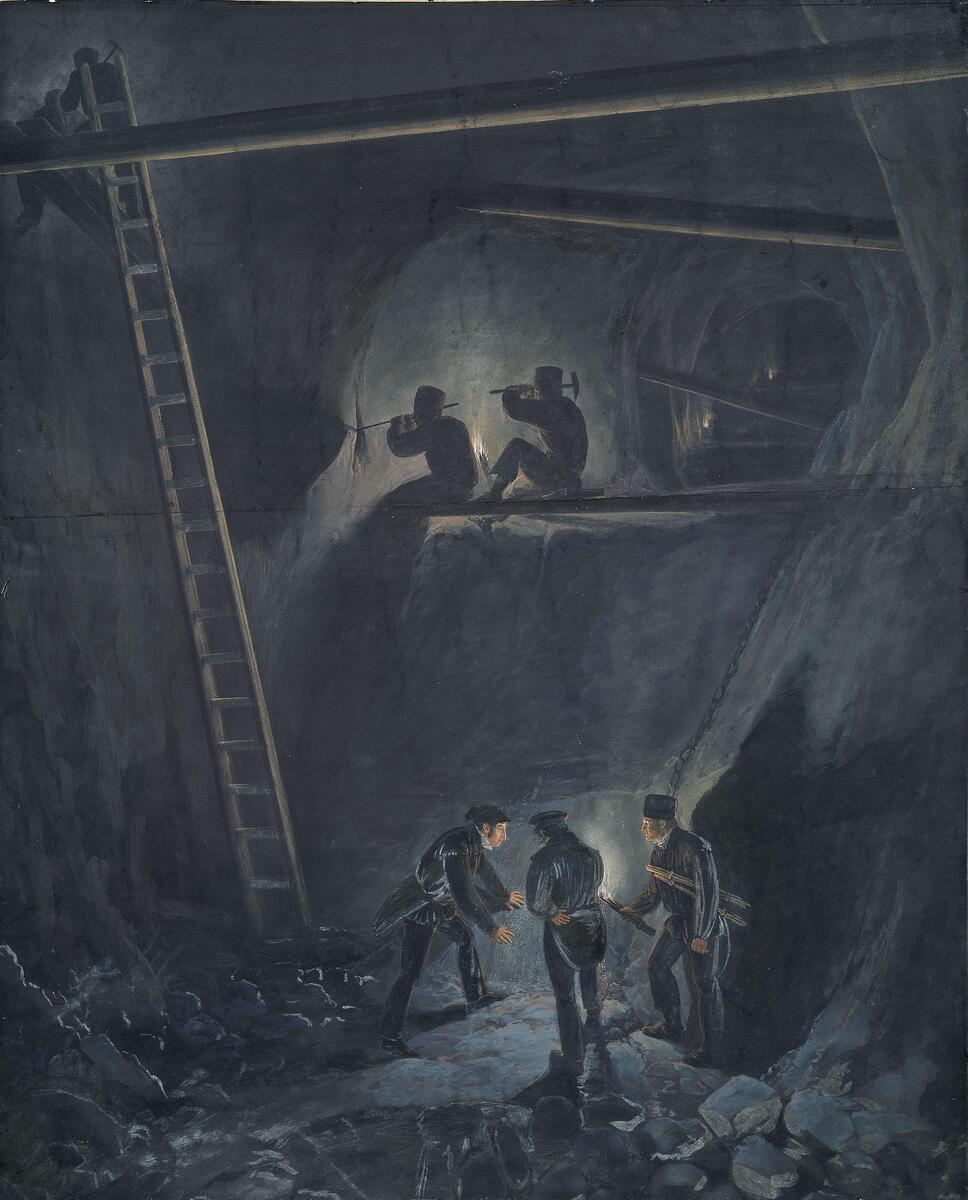 """""""Kongens gruve, Kongsberg"""" malt av Johannes Flintoe (1834) (Foto/Photo)"""