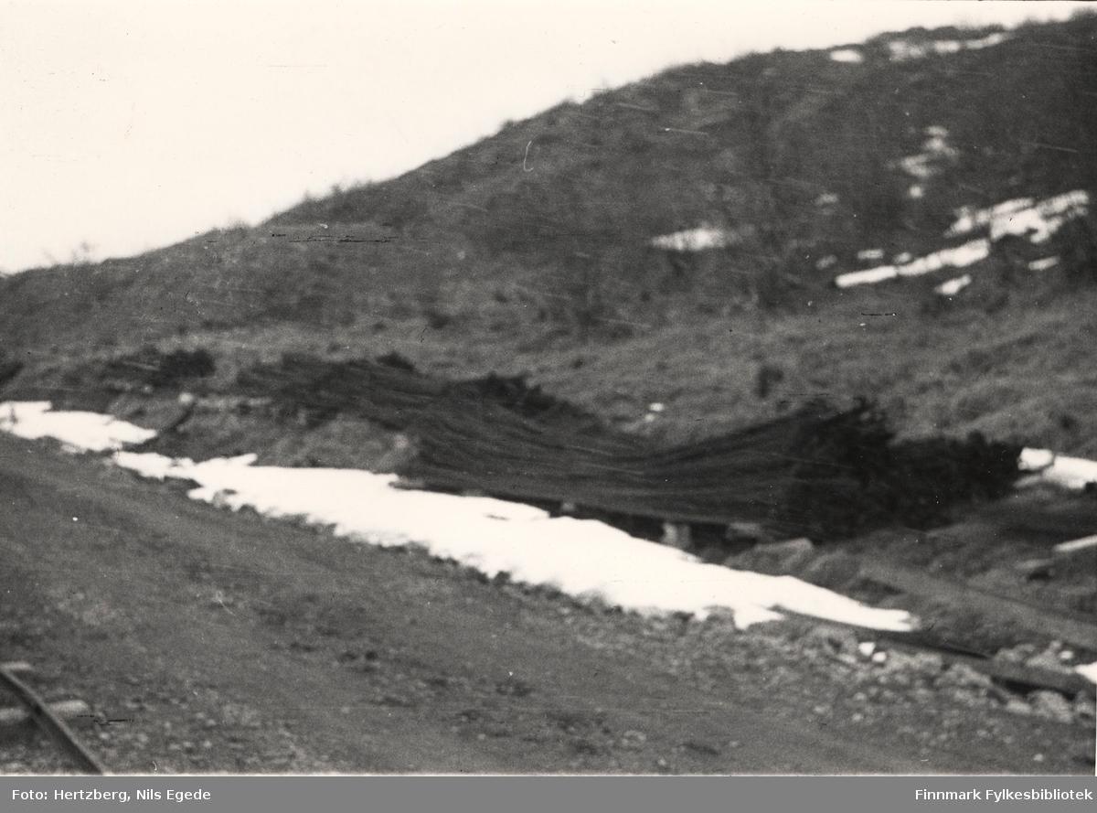 Byggearbeidet foregår på Tana bru, 1947. Armeringsjern ligger på bakken. Se også bildene 280-312.