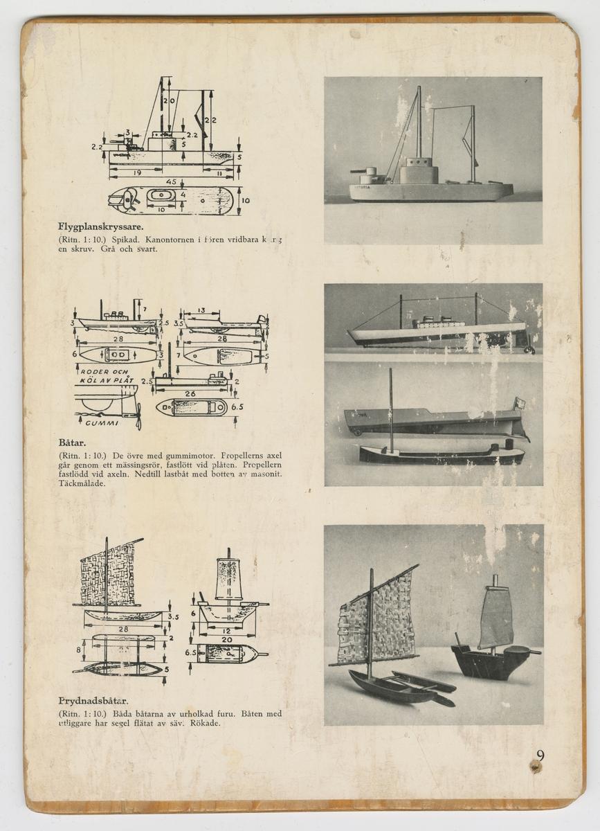 Anvisningar för träslöjd. Beskrivning av olika båtmodeller och tågmodeller. Bladet kommer ifrån ett häfte där bladen är limmade på träskivor.  Ingår i en samling av olika ritningar och bilder för metall-och träslöjd.  Använda vid slöjdundervisning vid Vänersborgs läroverk.  Vid röjning i källarlokal under Huvudnässkolan tillvaratogs dessa ritningar.