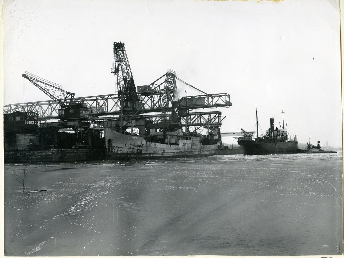 Västerås, Sjöhagen. Djuphamnen.  Djuphamnen från sjösidan, 1950.