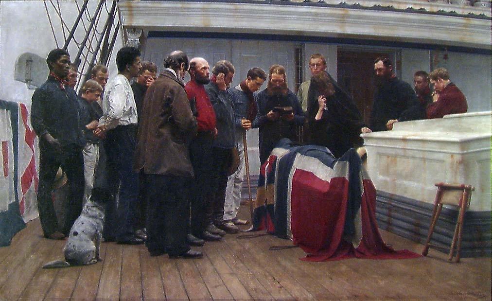 En begravelse ombord [Maleri]