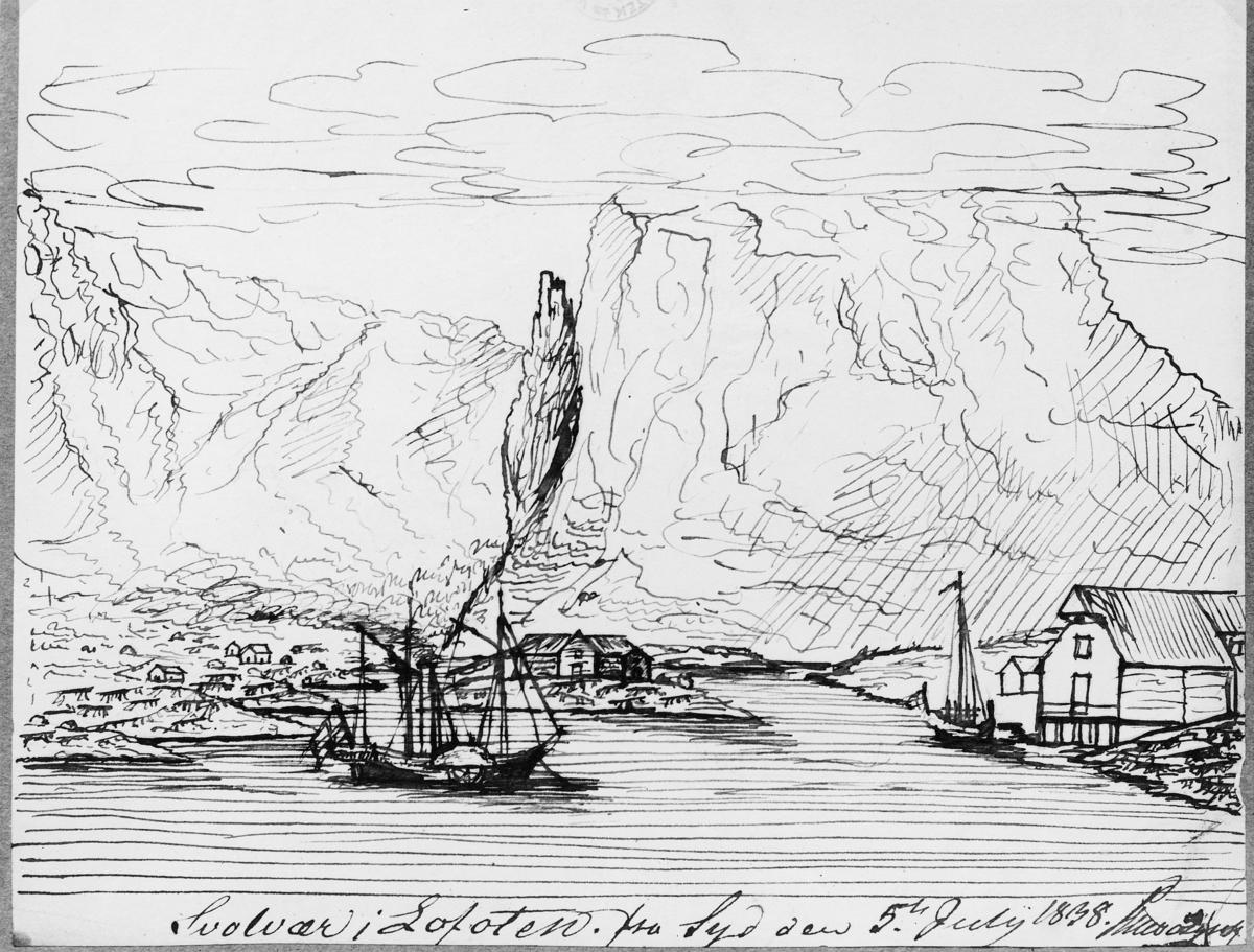 tegning, båt, Prinds Gustav i Lofoten,