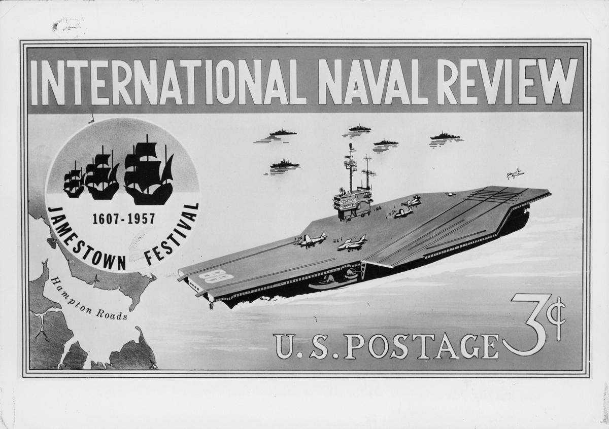 frimerke, USA, Internasjonal Naval Review - Jamestown Festival 1607 - 1957, U.S. POSTAGE 3p