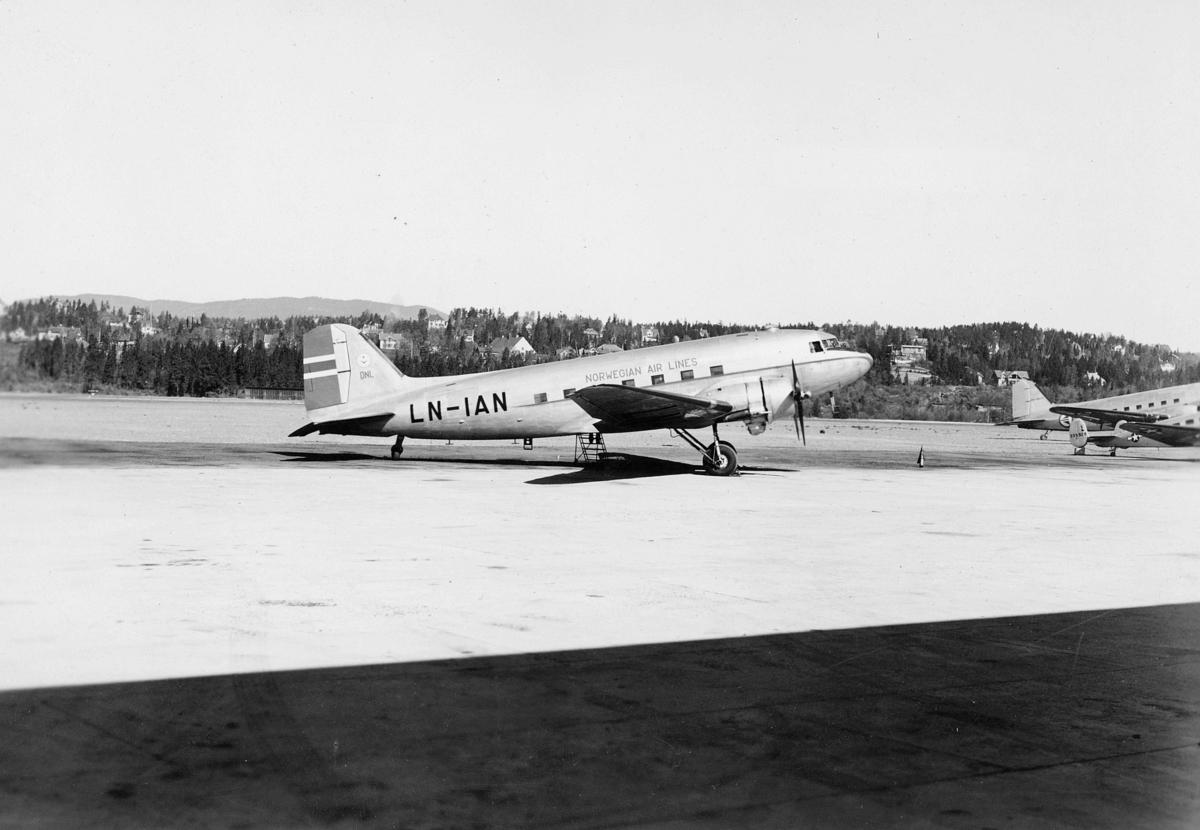 transport, fly, eksteriør, Fornebu, DC-3, på bakken