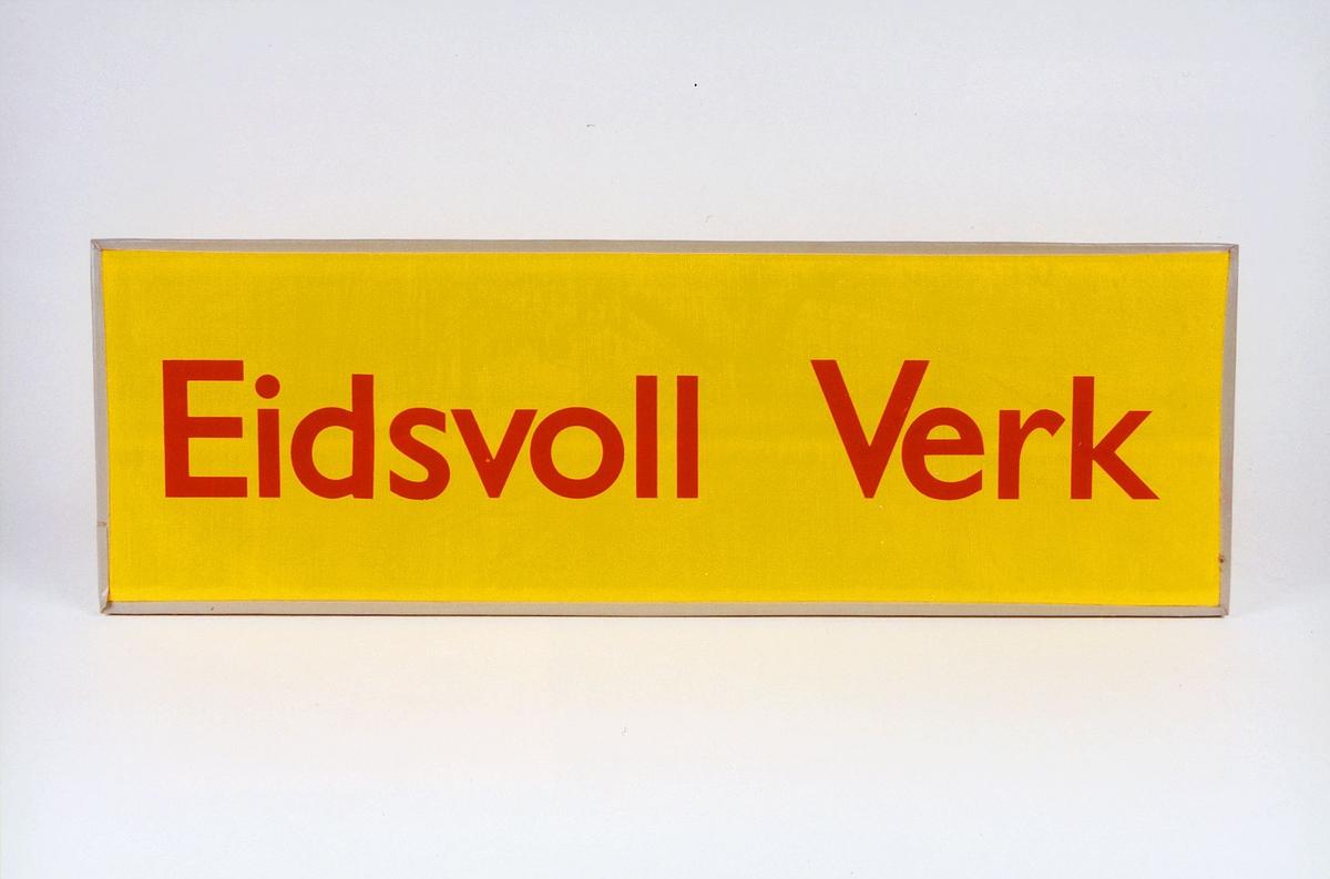 Postmuseet, gjenstander, skilt, stedskilt, stedsnavn, Eidsvoll Verk.