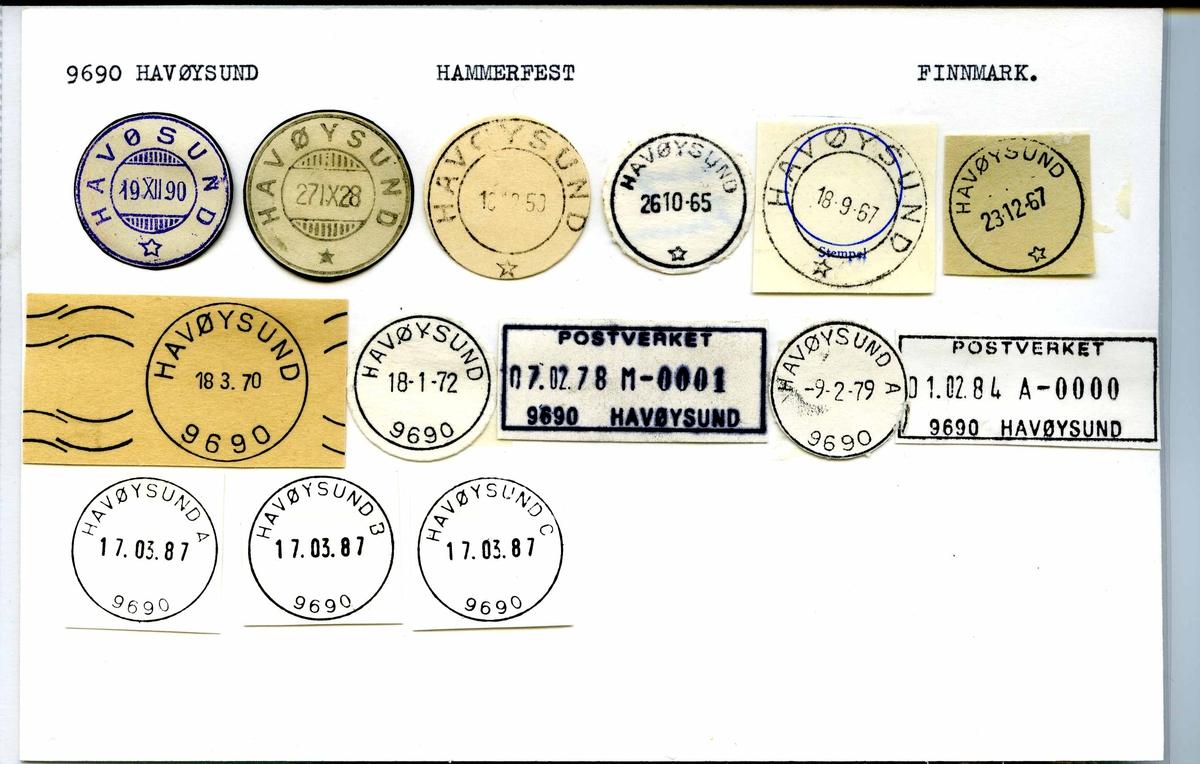 Stempelkatalog. 9690 Havøysund. Hammerfest postkontor. Måsøy kommune. Finnmark fylke.